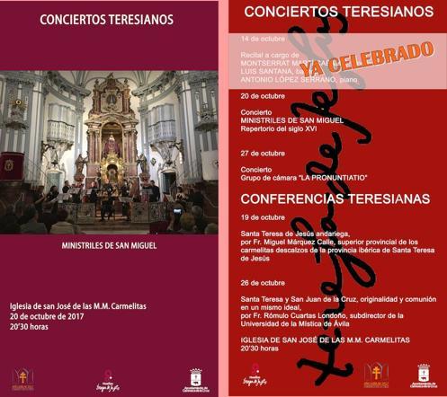 La iglesia de San José acoge la conferencia 'Santa Teresa andariega' y el concierto de 'Ministriles de San Miguel'