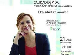 La doctora Garaulet ofrece la conferencia 'Calidad de vida: Nutrición y hábitos saludables'