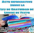 El PP organiza un acto para informar sobre la Ley de Gratuidad de Libros de Texto