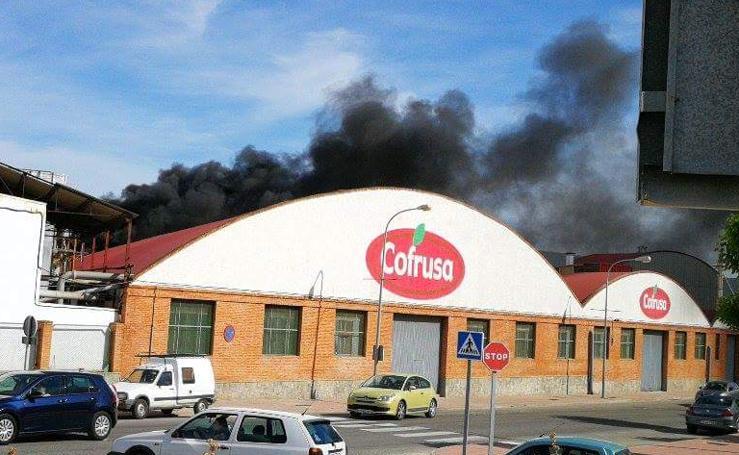 Desalojan a 60 trabajadores por el incendio de la fábrica de Cofrusa en Mula