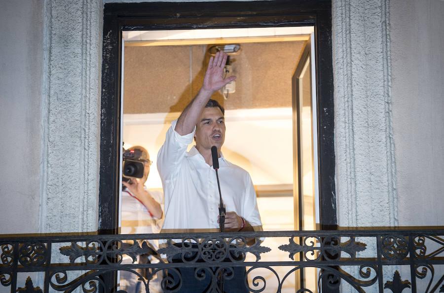 Pedro Sánchez celebra su victoria en las primarias