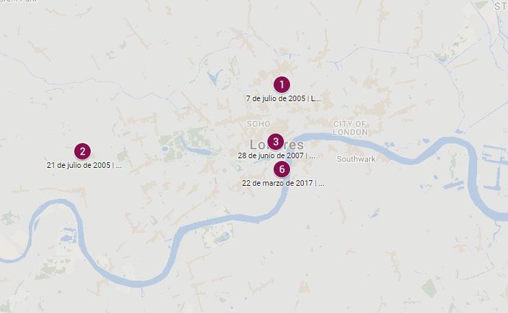 Últimos atentados en Reino Unido