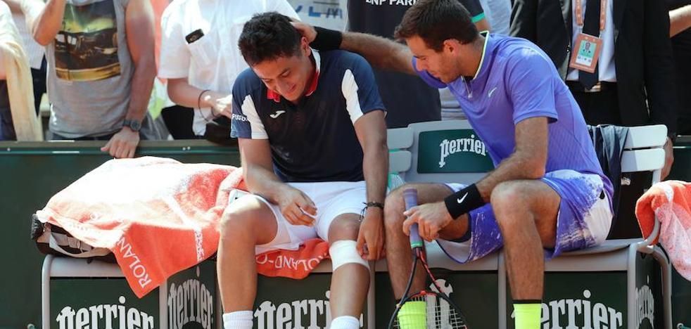 Almagro se retira de Roland Garros por una lesión en su partido ante Del Potro