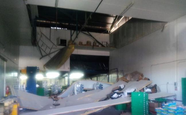 Cinco heridos en Cieza al caer el techo de un almacén de fruta
