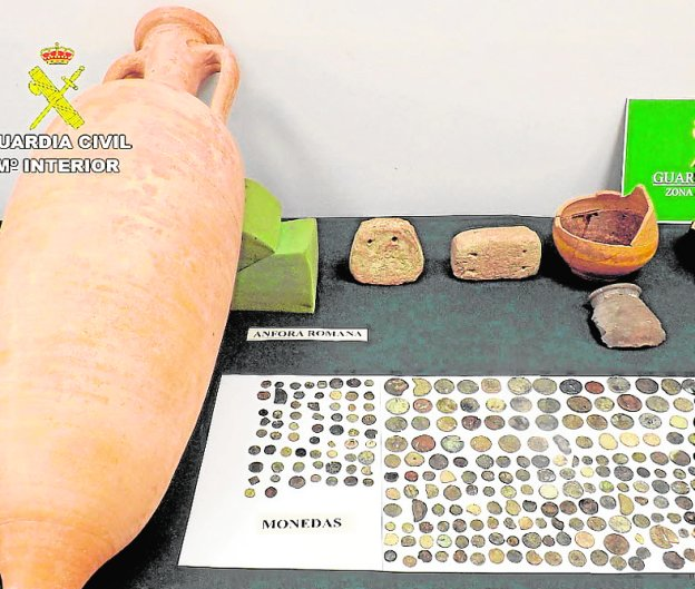 Monedas decomisadas en Murcia en 2014./Guardia Civil