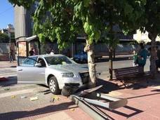 Aparatoso accidente en la Plaza Castilla de Murcia