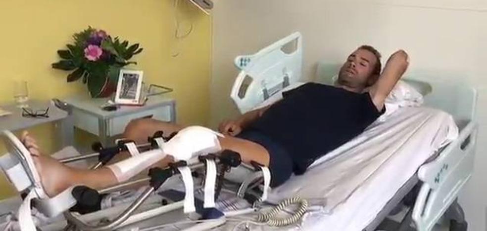 Valverde ya flexiona la rodilla, 36 horas después de la operación