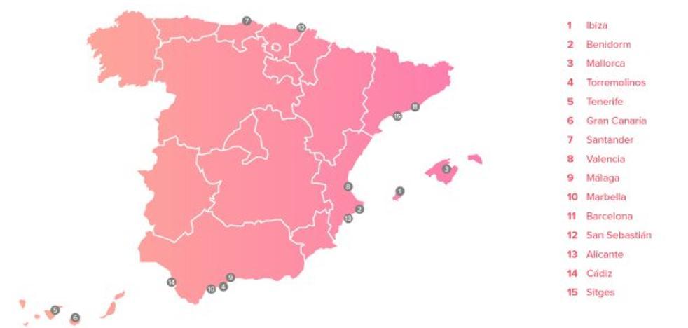 Las 15 playas españolas en las que más se liga