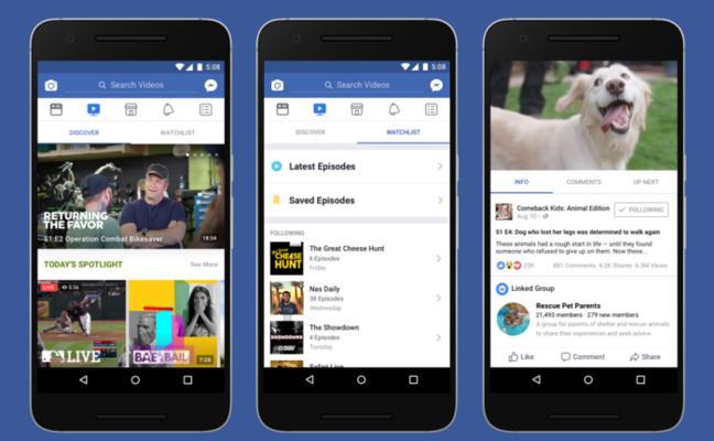 Facebook lanza 'Watch', su propia plataforma de vídeo