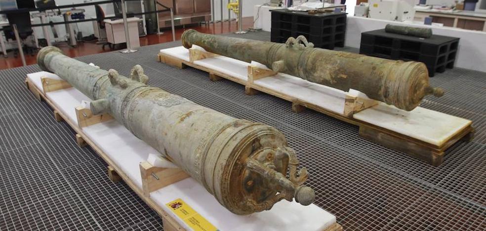 Recuperan dos cañones del siglo XVI de 'Nuestra Señora de las Mercedes'
