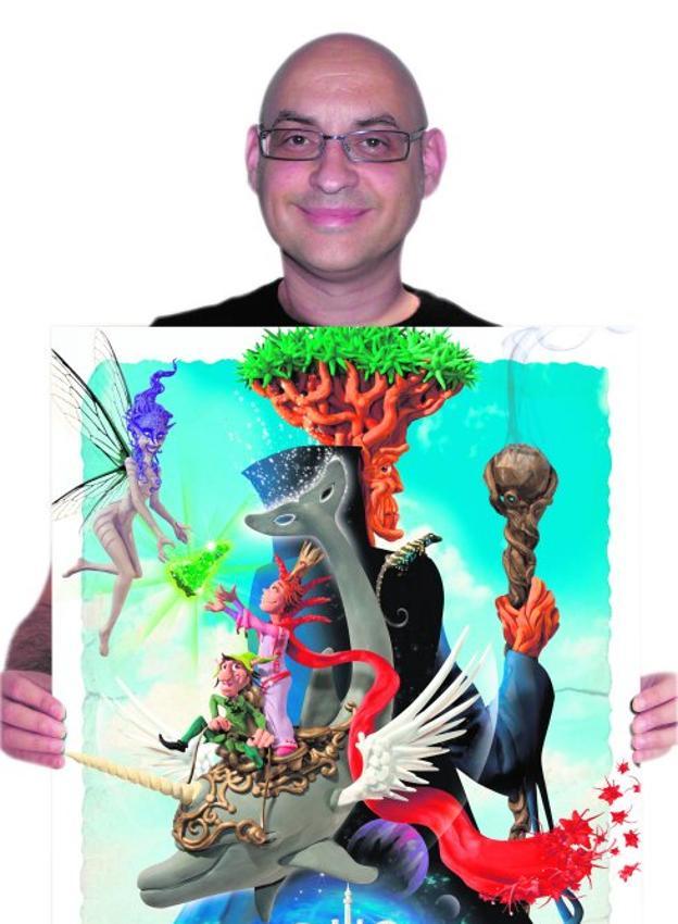 Cristóbal Aguiló, con el cartel finalista del carnaval de Tenerife.