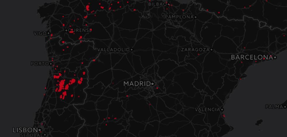 Los focos del fuego en el norte de España, en tiempo real