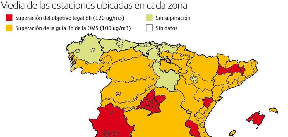 Cuatro de cada cinco españoles respiraron aire contaminado por ozono