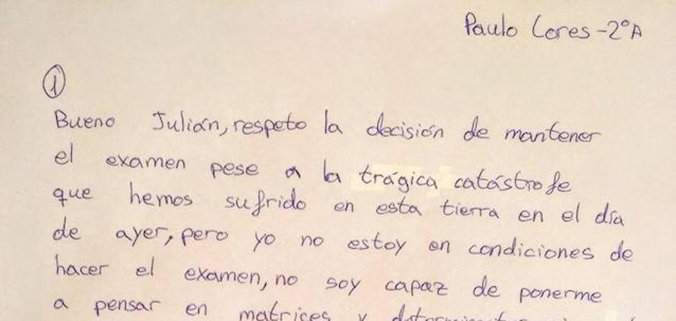La carta de un niño gallego que no quiso hacer el examen de matemáticas