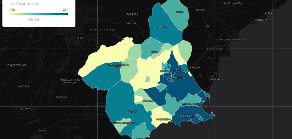 Solo siete municipios de la Región superan los 20.000 euros de renta media