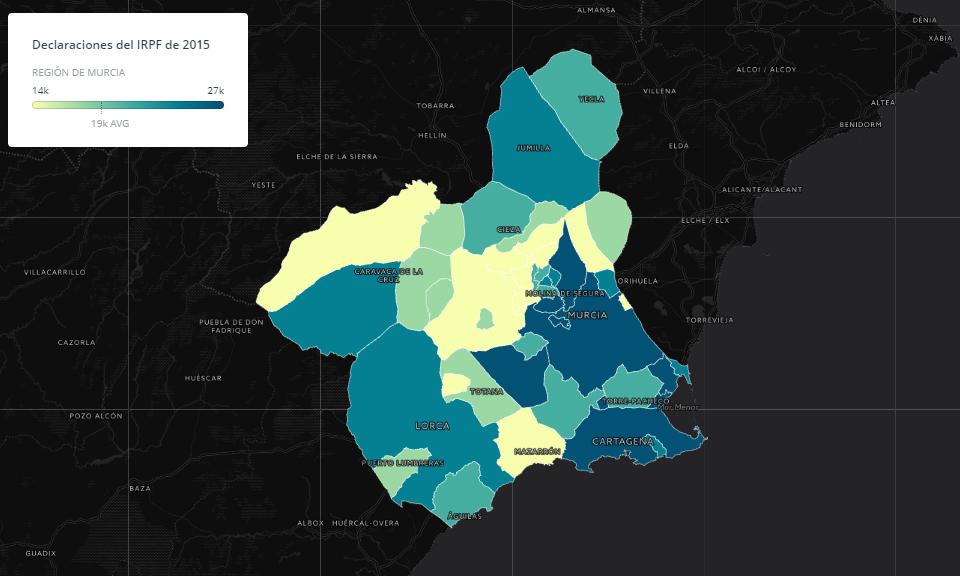 Las declaraciones del IRPF en la Región de Murcia por municipios