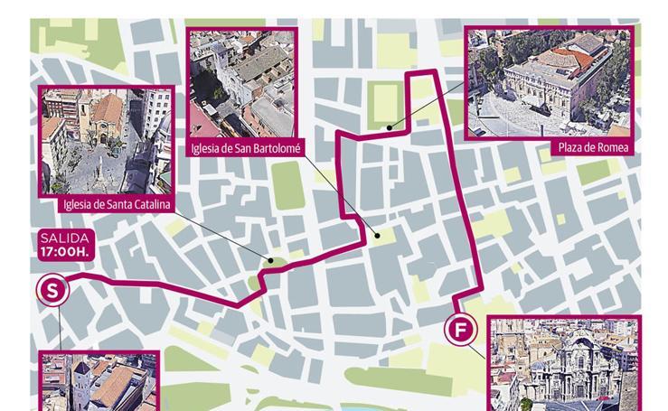 Itinerario de la procesión histórica con motivo del congreso internacional de hermandades en Murcia