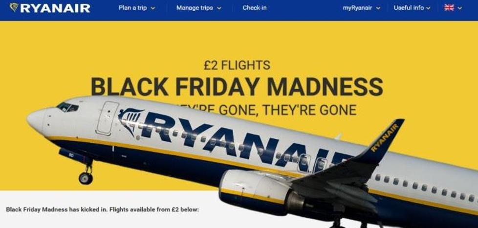 Ofertas 'expréss' de Ryanair por el Black Friday