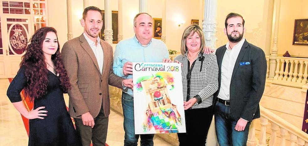 La cola de ballena y el Palacio Consistorial inspiran el cartel de las fiestas de carnaval