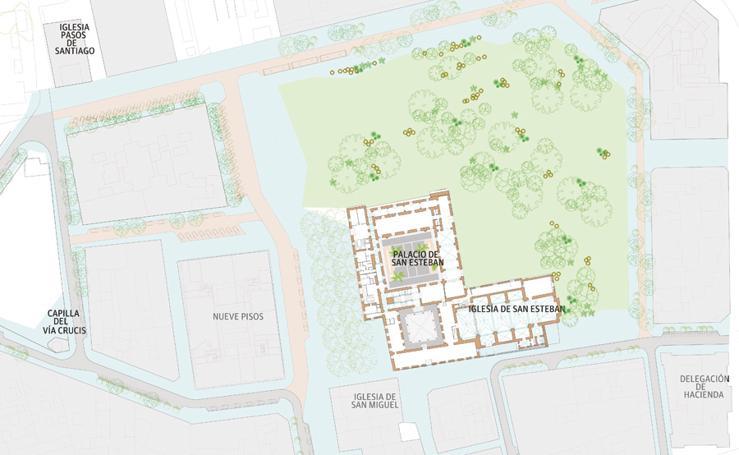 Plano del jardín que va sobre el yacimiento de San Esteban