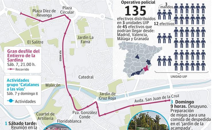 Murcia triplica la vigilancia policial ante la llegada de independentistas a las vías