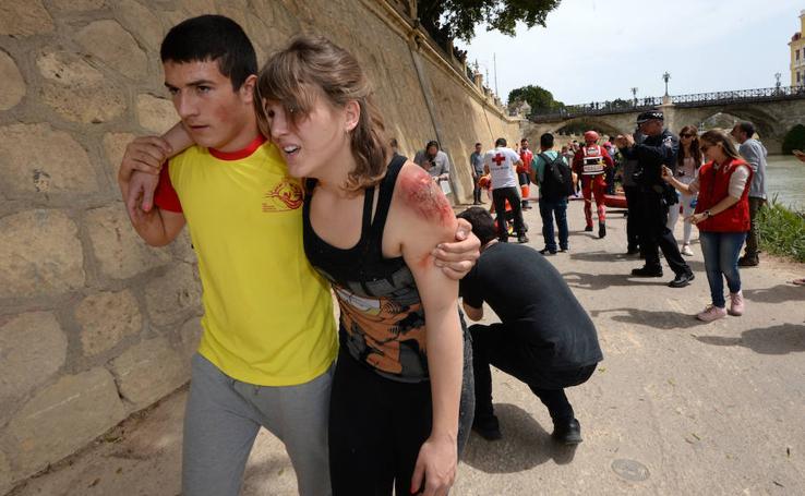 Las imágenes que deja el simulacro de emergencias en la Región
