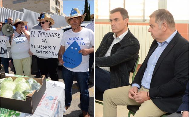 A la izquierda, una imagen de la protesta; a la derecha, Sánchez y Jiménez durante la reunión.