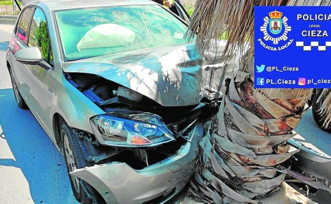 Un conductor choca con una palmera en Ascoy