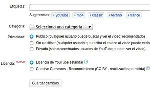 YouTube permite subir v�deos con licencia Creative Commons