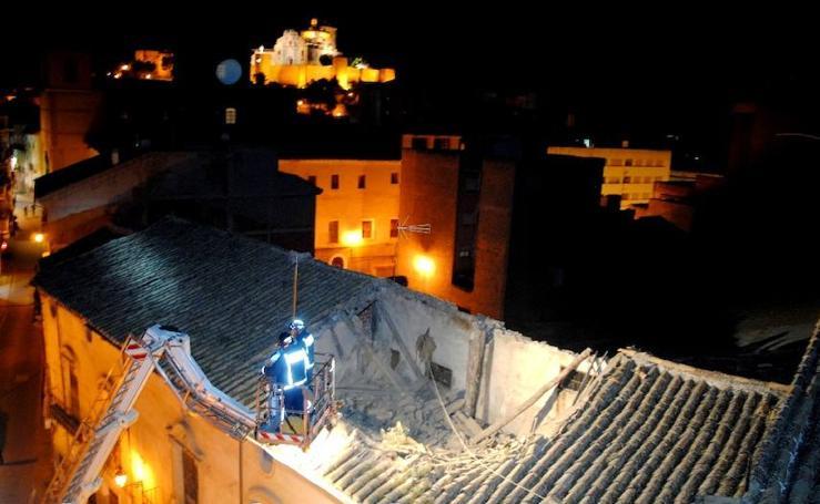Derrumbe del tejado del Palacio de la Encomienda