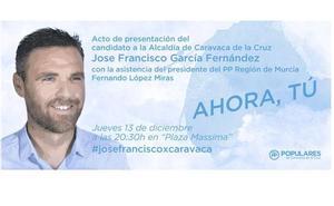 El PP presentará a José Francisco García como candidato a la Alcaldía de Caravaca de la Cruz