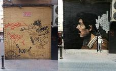 El antes y el después de los grafitis de Santa Eulalia