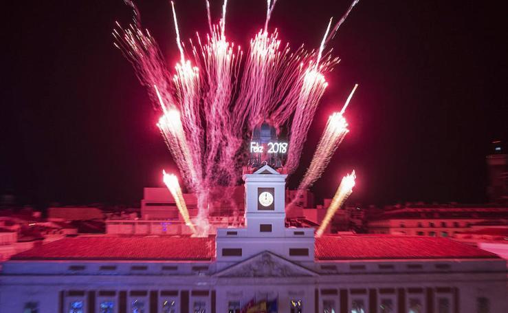 Brindis por el 2018 en la Puerta del Sol de Madrid