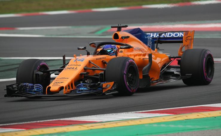 Fernando Alonso, en el test de Barcelona