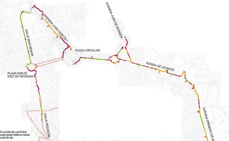 Trazado de los dos carriles bici desde la plaza Circular hasta el río previstos para antes de fin de año