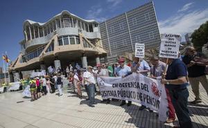 Doscientas personas reclaman la mejora del sistema de pensiones frente a la Asamblea Regional