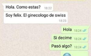 El inapropiado mensaje de WhatsApp que recibió una joven tras su visita al ginecólogo