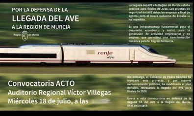 El Gobierno regional arranca las protestas contra el retraso de las obras con un acto público este miércoles en Murcia