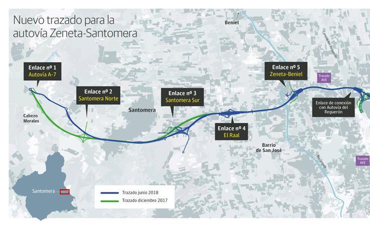 Nuevo trazado para la autovía Zeneta-Santomera