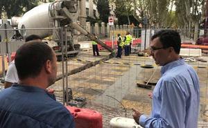 Comienzan las obras de hormigonado en la avenida Alfonso X de Murcia