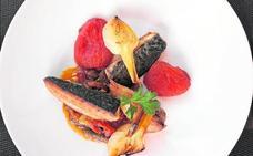 Melva con verduras asadas