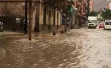 Calles anegadas en Mazarrón por una tromba de agua