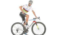 Valverde estrena bicicleta con los colores de campeón del mundo para el Giro de Lombardía