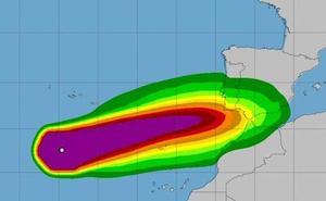 La cola del huracán 'Leslie' puede llegar mañana a la Región de Murcia con lluvias y viento