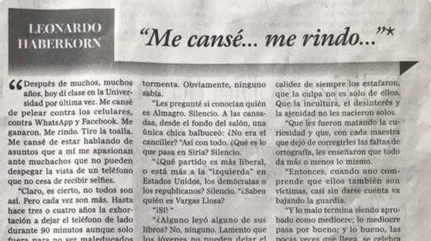 La demoledora carta de renuncia de un profesor: «Me cansé de luchar contra móviles y WhatsApp. Me rindo»