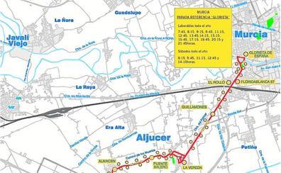 La nueva línea de autobús con Aljucer circulará desde el 21 de diciembre