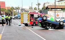 Un conductor, herido en un aparatoso accidente