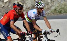 Valverde logra reengancharse tras una caída en la Vuelta a Emiratos Árabes