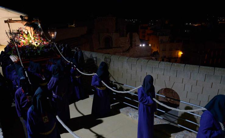 El Cristo Moreno se recoge en Cartagena con las primeras luces del día tras el primer cortejo de España