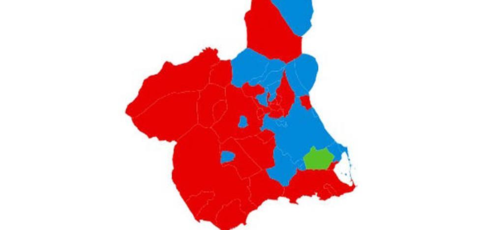 El mapa municipal de la Región se tiñe de rojo en las elecciones generales